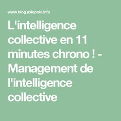 L'intelligence collective en 11 minutes chrono ! - Management de l'intelligence collective