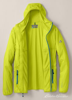 The Big Leap Jacket is Guide-built for active, fast-forward sports from mountain training to rock climbing. Flexion fabric of stretch nylon is windproof, water-resistant, and breathable. Low-profile hood with stretch binding. Elastic at waist and cuffs.