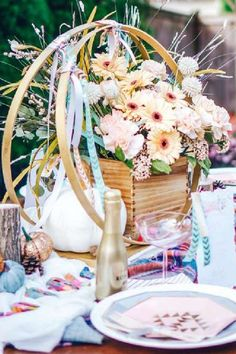 Take a look at the pretty floral centerpiece at this Friendsgiving party! See more party ideas and share yours at CatchMyParty.com #catchmyparty #partyideas #4favoritepartiesoftheweek #thanksgiving #friendsgiving #centerpiece #floraldecorations