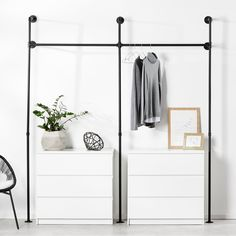 pamo furniture in industrial design from water pipes pamo. Furniture in industrial -. Diy Wardrobe, Wardrobe Rack, Wardrobe Dresser, Loft Outfits, Ideas Dormitorios, Style Loft, Water Pipes, Modern Industrial, Dressing Room
