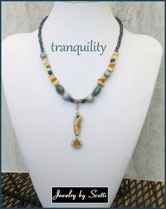 Blue Turquoise Teal Tan Necklace // Tranquility by JewelryByScotti