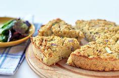 Vegan chickpea cauliflower quiche.