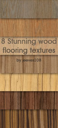 8 Stunning wood flooring textures All images are high resolution and include some lovely oak, beach, cherry and walnut wooden textures perfect for use in modelling programs such as max, rhino, Cinema or just in Photoshop as a background material. Wood Floor Texture, Texture Board, 3d Texture, Autocad, Cherry Wood Floors, 3ds Max Tutorials, 3d Max Vray, Planer Layout, Revit Architecture
