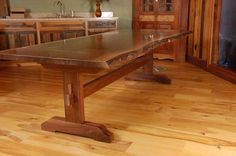 Custom Walnut Live Edge Trestle Table by Sandy Creek Woodworks   Hatch.co