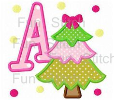 set of christmas tree applique font letters machine embroidery design christmas tree christmas ornaments - Christmas Applique Designs