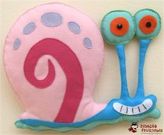 Gary from spongebob Gary From Spongebob, Goku Toys, Felt Crafts, Diy Crafts, Spongebob Square, Felt Fish, Felt Bookmark, Disney Dolls, Mug Rugs