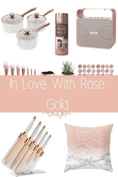 In Love With Rose Gold We had the gold phase where everything was gold in colour. Then we all went silver, now its time for the rose gold phase. I, for one, am loving the ro. Modern Kitchen Cabinets, Copper Kitchen, Kitchen White, Lounge Colour Schemes, Color Schemes, Kitchen Styling, Kitchen Decor, Kitchen Ideas, Rose Gold Kitchen Accessories
