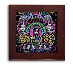 Day of the Dead Mexican Folk Art Ceramic Framed Tile by Heather Galler - Frida Kahlo Sugar Skulls Ready To Hang Tile Fram