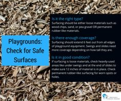 Playgrounds: check for safe surfaces – Prevent Child Injury Playground Safety, Swing And Slide, Playgrounds, How To Dry Basil, Surface, Herbs, Children, Check, Young Children