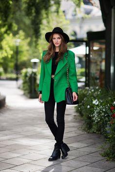 All black with oversized emerald blazer