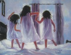 Three Sisters Jumping On Bed Art Print, three girls bedroom pink wall art decor, three brunettes, three best friends, Vickie Wade art Two Girls Bedrooms, Pink Bedroom For Girls, Sister Bedroom, Rain Girl, Lavender Walls, Three Best Friends, Three Sisters, Happy Sisters, Pink Wall Art