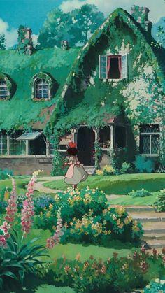 Annie with scenery wallpapers 85 Studio Ghibli Art, Studio Ghibli Movies, Animes Wallpapers, Cute Wallpapers, Phone Wallpapers, Film Animation Japonais, Studio Ghibli Background, Photowall Ideas, Japon Illustration