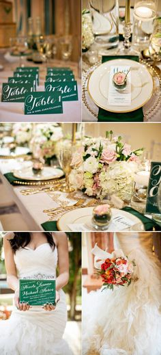 Very chic wedding using peach and emerald.