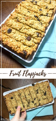 Delicious, chewy, oaty flapjacks studded with juicy dried fruits and richly flavoured with syrup and coconut. Dairy free, parve, vegan, and utterly yummy! #vegan #oats #snack #baking