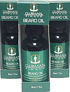 Lot 3 Clubman Pinaud Beard Oil Skin Haircare Moustache Mens Grooming Gift Ideas