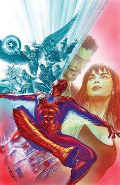 Alex Ross- Spider man # 12 cover Original Comic Art - W. Comic Book Artists, Comic Book Characters, Marvel Characters, Comic Artist, Comic Character, Comic Books Art, Fictional Characters, Marvel Comics, Marvel Art