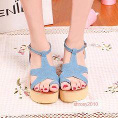 New Summer Womans Wedge Heels Ankle Strap Roman Platform Denim US Size All D1019