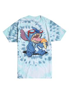 Tie dye T-shirt from Disneys Lilo Stitch featuring a sunglasses-wearing Stitch eating an ice cream cone. dry low Imported Listed in mens sizes men T-shirt