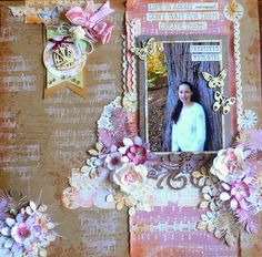 Created with Kaisercraft papers - Mademoiselle - for the Kraft Plus challenge July 2016 - Adriana Bolzon