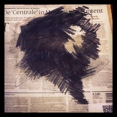 10th April - Black Hole Today - charcoal on newspaper