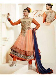Tempting Orange Patch Border Faux Georgette Anarkali Suit
