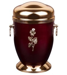 Beautiful Burgundy Metal Cremation Urn for Ashes -Gold Rose Funeral Urn For Adult (M71A)
