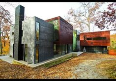 This brightly-hued, rectangular 929-square metre manse was designed by Robert Gurney, sits overlooking the Potomac River and boasts heated floors, glass bridges, a five-car garage and an infinity pool. Bethesda, Maryland.