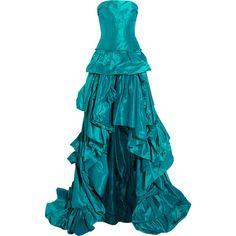 Oscar de la Renta Strapless ruffled silk-tafetta gown (£1,944) ❤ liked on Polyvore featuring dresses, gowns, teal, teal evening gown, oscar de la renta gowns, teal blue dresses, strapless evening dresses and blue dress