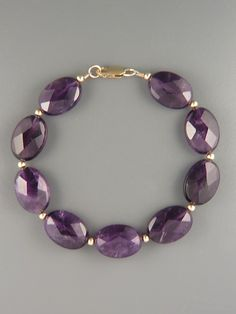 Amethyst Bracelet - 13x18mm oval faceted stones with 3mm round beads