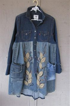 upcycled denim coat tunic winter clothing Boho Bohemian wearable art X L overcoat reclaimed recycled Gypsy Lagenlook LillieNoraDryGoods Great for fall and winter, comfy, festive, perfect for layering - restyled vintage Levi stretch cotton denim western style shirt - added