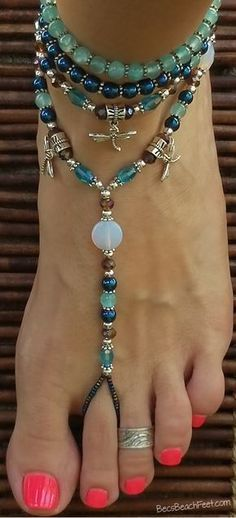 Foot jewelry with dragonfly charms ✿ Dreamscape ✿ Foot Jewelry • Barefoot Sandals • Anklets • Bracelets