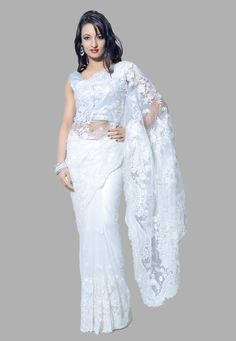 Buy White Net Saree with Blouse online, work: Embroidered, color: White, usage: Party, category: Sarees, fabric: Net, price: $71.30, item code: SVX195, gender: women, brand: Utsav