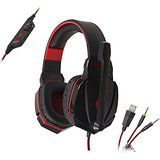 Kingtop® EACH Stereo Gaming Headset Headphone Headband with Mic Volume Control for PC Game (Black and Red) Gaming Earphones, Game Black, Headphone With Mic, Pc Games, Plugs, Amazon, Red, Amazons