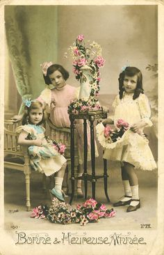 Colorized Vintage Photo of Three Young Girls & Their Beautiful Flowers