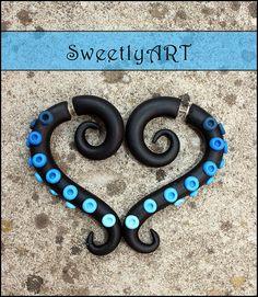 Fake gauge Earrings tribal octopus tentacle blue by SweetlyART, $22.00
