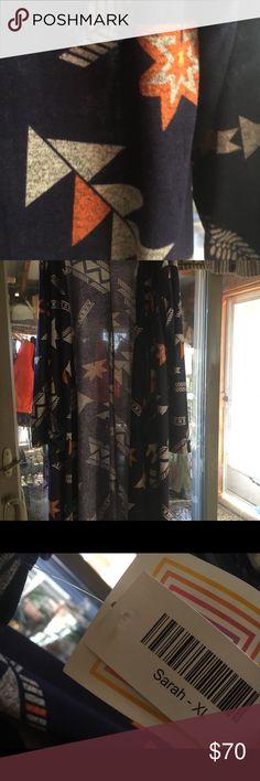 Brand new Lularoe Sarah NWT Beautiful Aztec Sarah Lularoe navy background size xl LuLaRoe Sweaters Cardigans