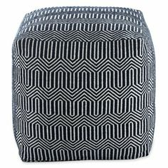 Jonathan Adler Elizabeth Squre Pouf  Navy and white geometric print pouf- perfect for living room / extra seating