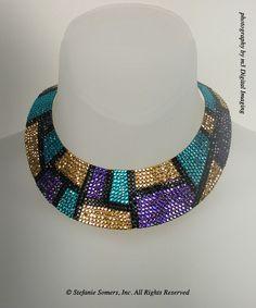 MONDRIAN Collar in Heliotrope, Blue Zircon, Aurum  Jet  Made with Swarovski Elements