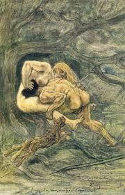 Félicien Rops - La Bataille des Sexes dans des Temps Préhistoriques