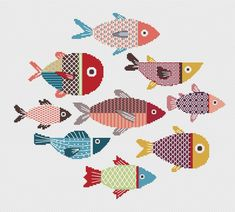 Fish sampler, cross stitch PATTERN, blackwork embroidery, You can produce very unique designs for materials with cross stitch. Cross stitch designs can almost surprise you. Cross stitch beginners can make the designs they desire without difficulty. Blackwork Patterns, Blackwork Embroidery, Needlepoint Patterns, Cross Stitch Embroidery, Hand Embroidery Patterns, Ribbon Embroidery, Cross Stitch Bookmarks, Cross Stitch Samplers, Cross Stitching