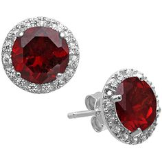 Garnet and Created White Sapphire Stud Earrings in Sterling Silver ($81) ❤ liked on Polyvore featuring jewelry, earrings, red, earring jewelry, sparkly earrings, garnet jewelry, red garnet jewelry and red earrings