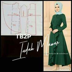 Long Dress Patterns, Dress Sewing Patterns, Clothing Patterns, Modest Dresses, Simple Dresses, Fashion Sewing, Diy Fashion, Sewing Blouses, Muslim Dress
