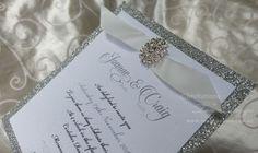 Glitter+Brooch+Wedding+Invitation for 15 años quinceanera party or sweet 16 #invitacioneslegantes #glitterinvitations