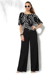 City Crepe - Palazzo Soft Pant - Solid - Average - New York
