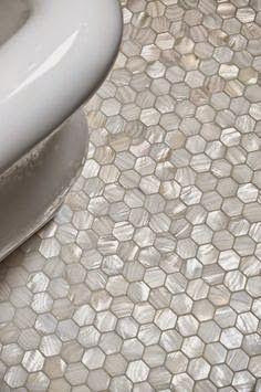 Mother of Pearl Hex Tile - Traditional - bathroom - Artistic Tile Ideas Baños, Tile Ideas, Reno Ideas, Hexagon Tiles, Hex Tile, Subway Tile, Tiling, Mosaic Tiles, Penny Tile