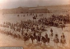 Fotografías Históricas de La Guerra del Pacifico 1879 _ 1884. Antofagasta 1879: Formación del Regimiento de Granaderos a Caballo.