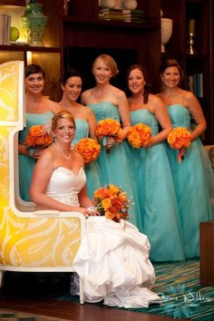 beachy bridesmaids..if i didn't use PINK for my bridesmaids I'd like use aqua or turquoise.