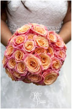 Coral (Pink & Orange) Miss Piggy Rose large bridal bouquet, wedding flowers
