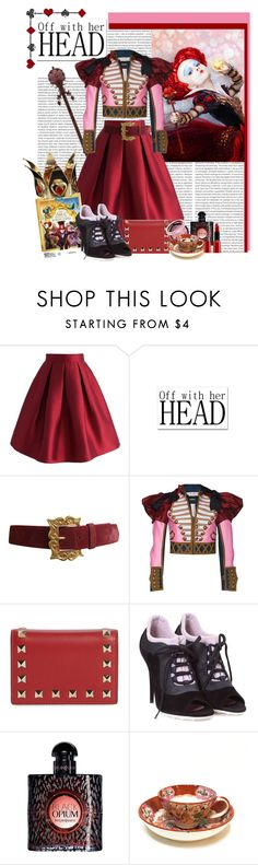"""""""Off with her head"""" by polybaby ❤ liked on Polyvore featuring Oris, Chicwish, Christian Lacroix, Dsquared2, Valentino, Miu Miu, Yves Saint Laurent, Giorgio Armani, contestentry and DisneyAlice"""