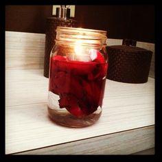 My valentines day rose petals. Mason jar, water, petals, candle = <3